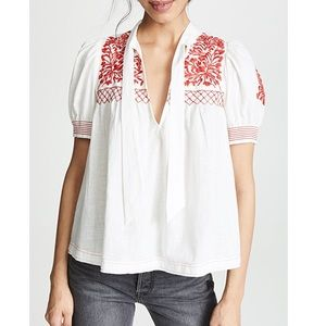 Free People Dreaming About You Embroidered Top XS